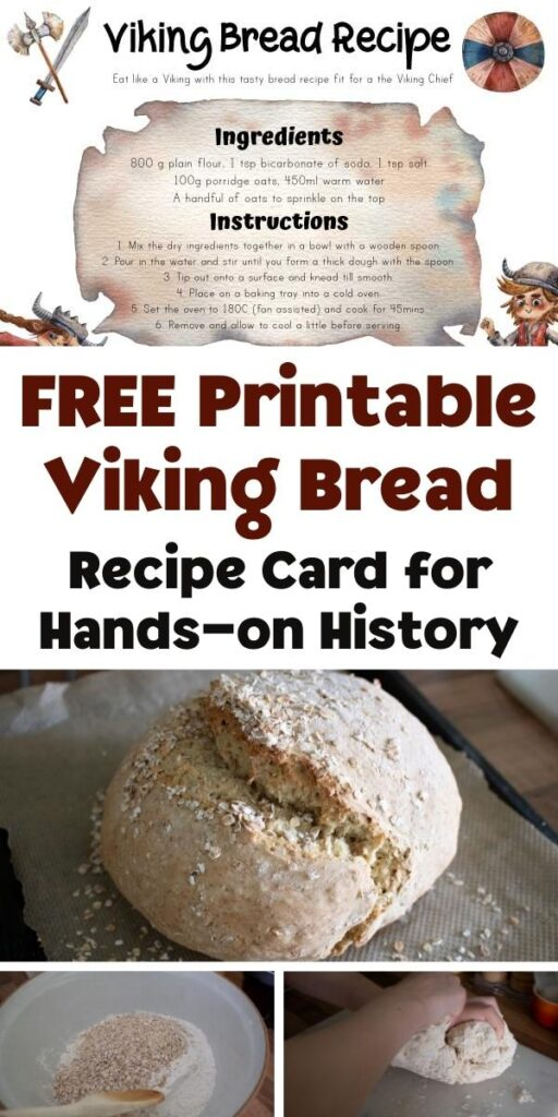 Pinterest Image for FREE Printable Viking Breead Recipe Card and bread made with the recipe
