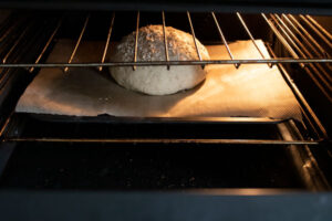 Viking bread in the oven to cook