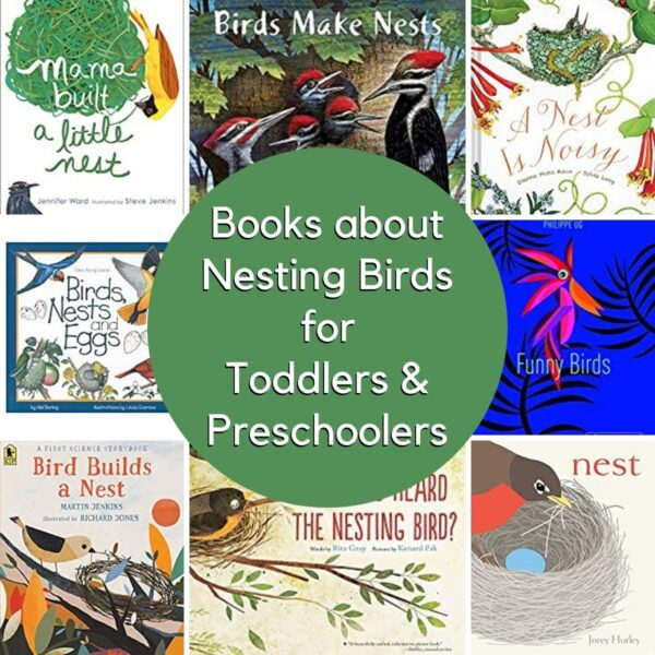 image of the covers of the best books about nests and birds in spring for toddlers and preschoolers including a nest is noisy and nest
