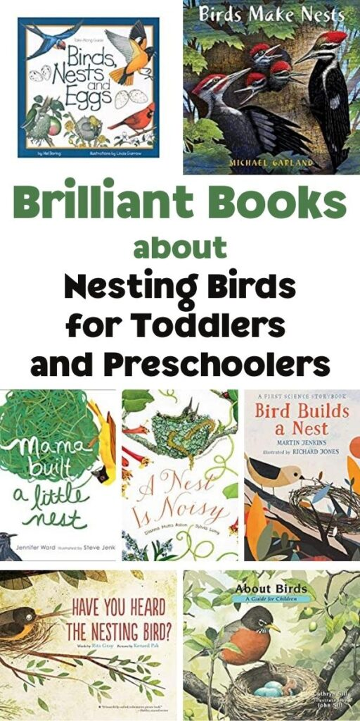 Pinterest image for Brilliant Books about Nesting Birds for Toddlers and Preschoolers showing the covers of the books