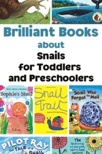 Pinterest image of the covers of books collated by Rainy Day Mum to read aloud with toddlers and preschoolers all about snails for nature study and fun
