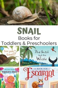 pinterest collage of snail books suitable for toddlers and preschoolers