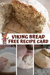 Pinterest Collage Image for a Viking Bread FREE Recipe Card