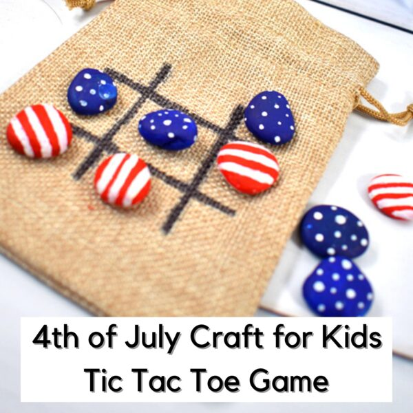 painted rock tic tac toe game for the 4th july with stars and stripes on them laid out in a game text overlay reads 4th of july craft for kids tic tac toe game