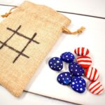 4th july painted rocks for a tic tac toe game an easy craft for kids to make