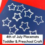 a star printed placemat with glitter on sitting on a red table cloth with text overlay reading 4th of July Toddler & Preschool Craft
