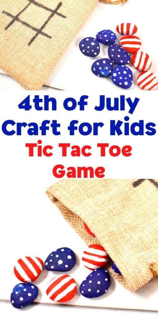 pinnable image for a 4th of july craft for kids to make a tic tac toe game to play