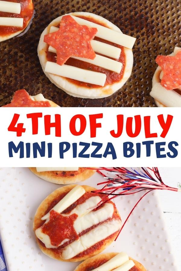 pinnable image for 4th of July mini pizza bites