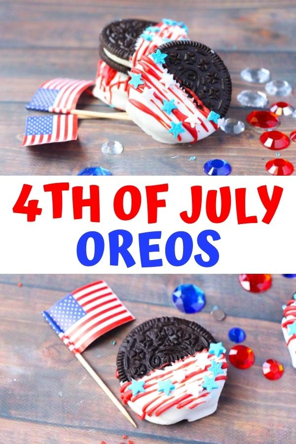 Pinterest image for 4th of July Oreos, shows 2 images of the kid made Oreo cookies, the top image of the collage shows a stack of the finished cookies with red white and blue gems around and the US flag, the bottom image a single Oreo dipped in white candy with red stripes and blue and white star sprinkles with a US flag beside and red white and blue gems around it.