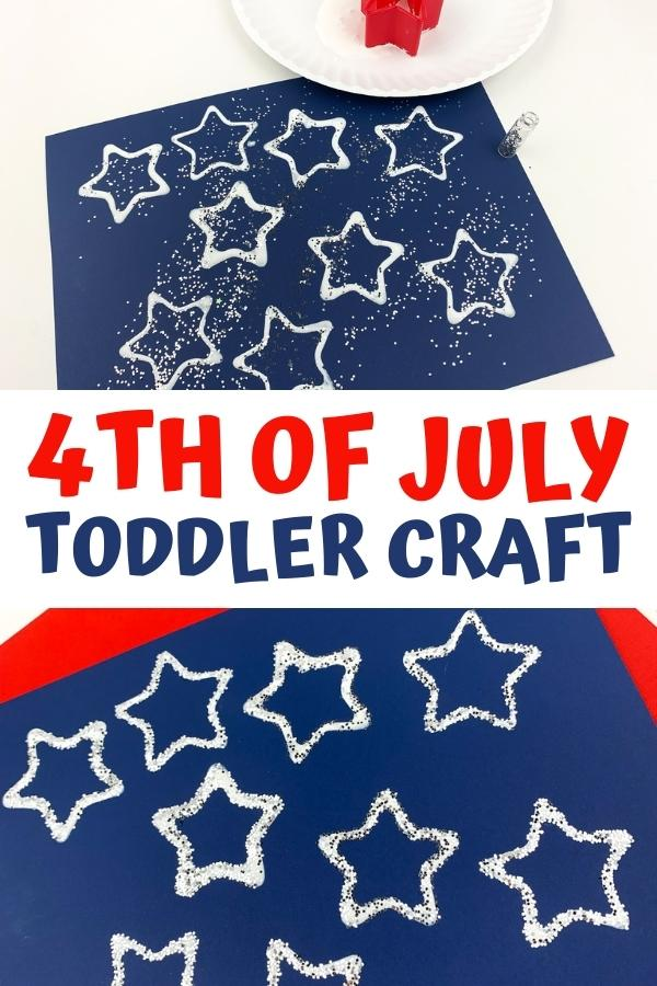 Pinnable Image of this 4th of July Toddler Craft to make some star printed placemats