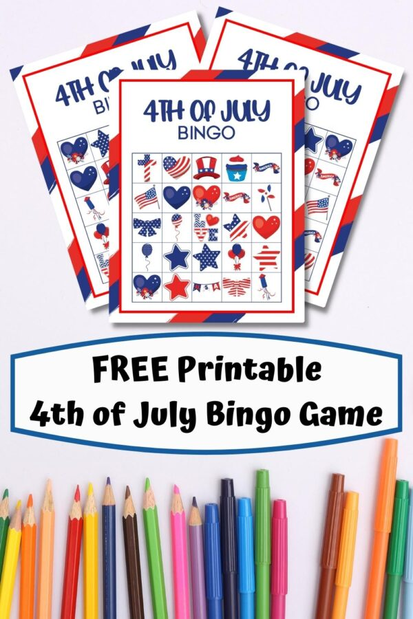 Pinterest Image of a FREE Printable 4th of July Bingo Game for Kids