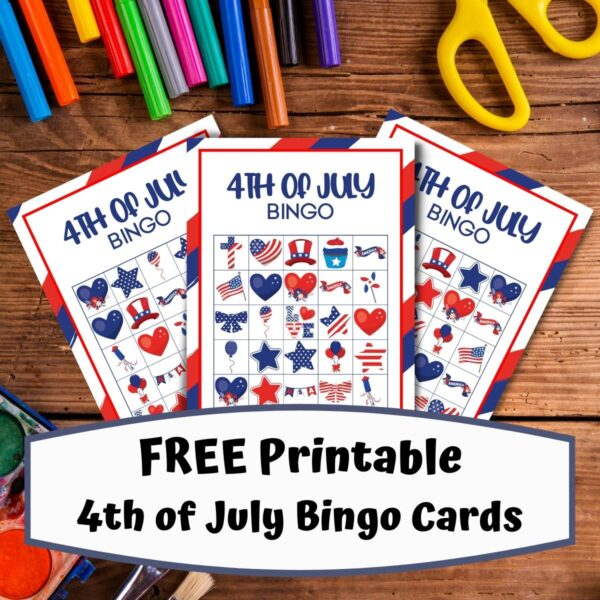 kids desk with 3 pages preview of the FREE printable 4th of July Bingo Cards from Rainy Day Mum
