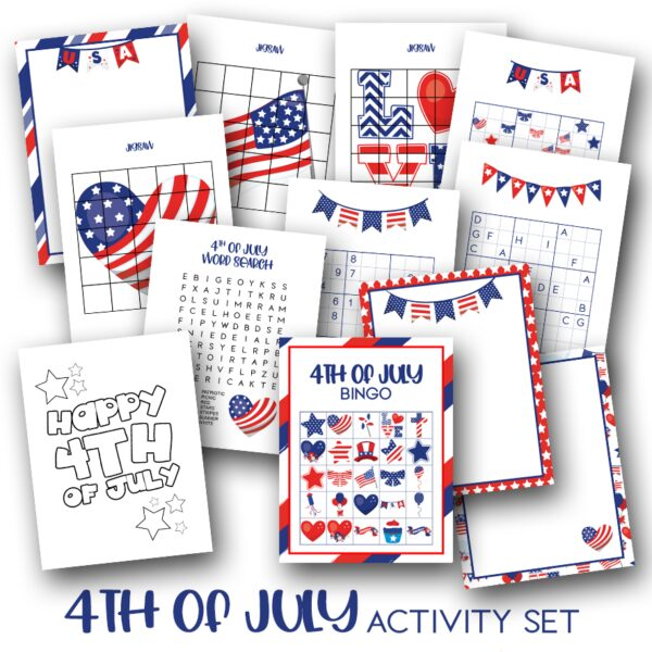 preview of some of the pages from the 4th of July Printable Fun and Games Activity Pack available from the Rainy Day Mum store