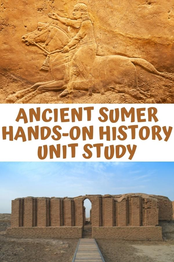 Ancient Sumer Hands-on History Unit Study for kids collage of a lay tablet and a building from Mesopotamia