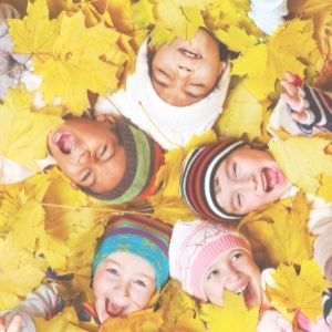fall kids in the leaves