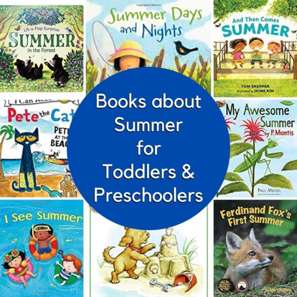 collage showing the covers of some of the best books about summer for toddlers and preschoolers as selected by Rainy Day Mum's kids