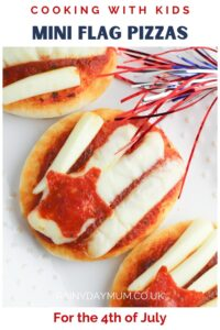 Pinterest image for Cooking with Kids Mini Flag Pizzas for the 4th of July