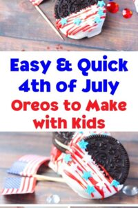 Pinterest image for Easy and Quick 4th of July Oreos to Make with Kids