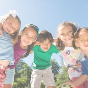 summer kids huddled