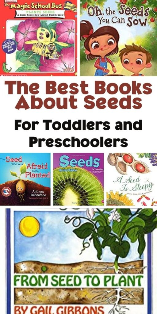 Pinterest image for The Best Books About Seeds for Toddlers and Preschoolers a collage showing the covers of the books picked in 2021