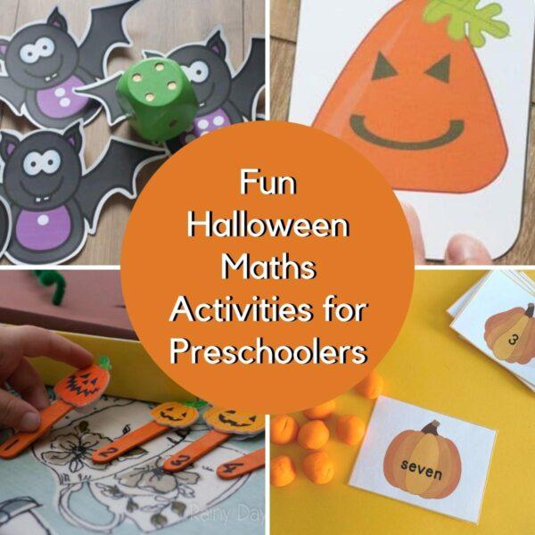 collage of preschool maths activities for halloween, a printable bat number game, shape pumpkin card game, pumpkin patch numbers and playdough mats