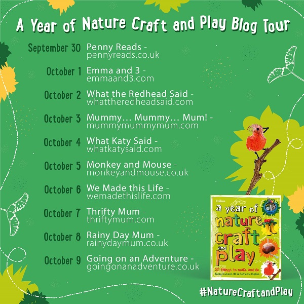 details of the 2021 autumn book blog tour for a year of nature play and crafts for kids