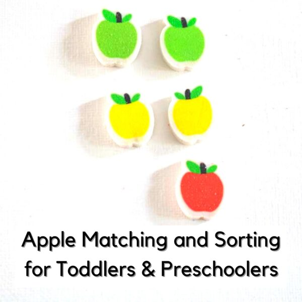 5 apple mini-erasers on a white background matched in pairs with one odd one out text overlay reads apple matching and sorting for toddlers and preschoolers