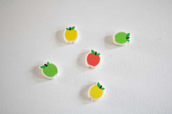 set of apple mini-erasers to sort and find the matching pairs as well as the odd one out