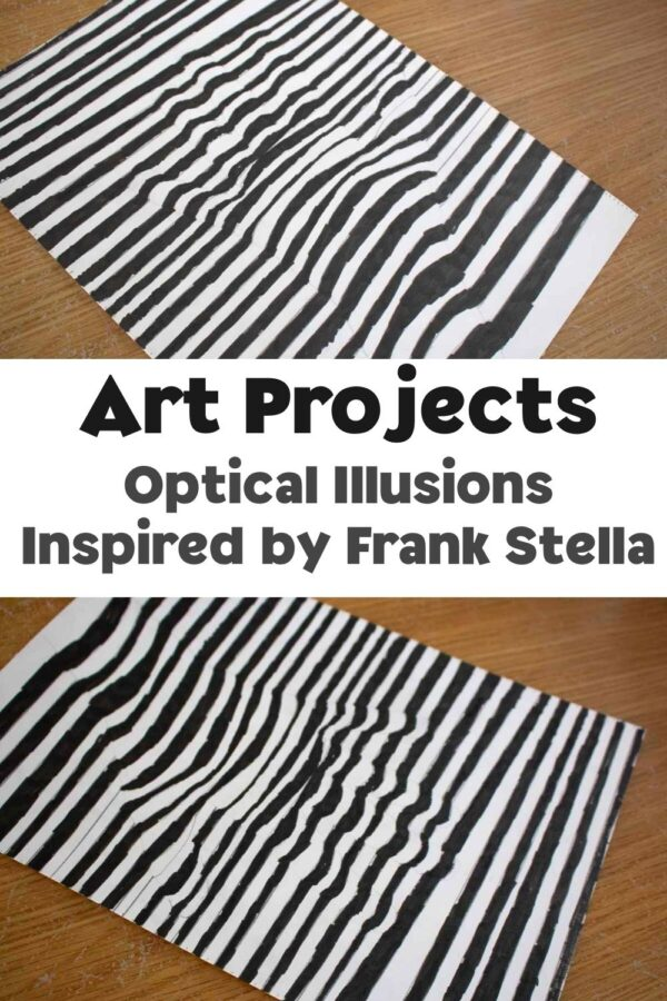 optical illusion art project for kids inspired by the black paintings by frank stella