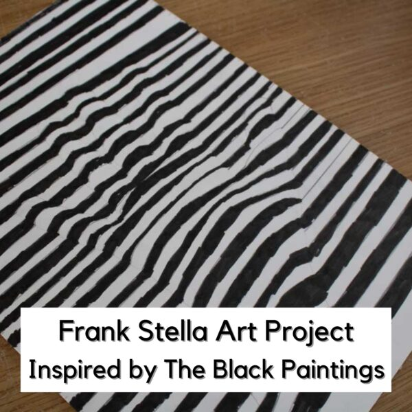 optical illusion hand art created by a child in black marker pen inspired by the artwork of Frank Stella text reads Frank Stella Art Project Inspired by The Black Paintings