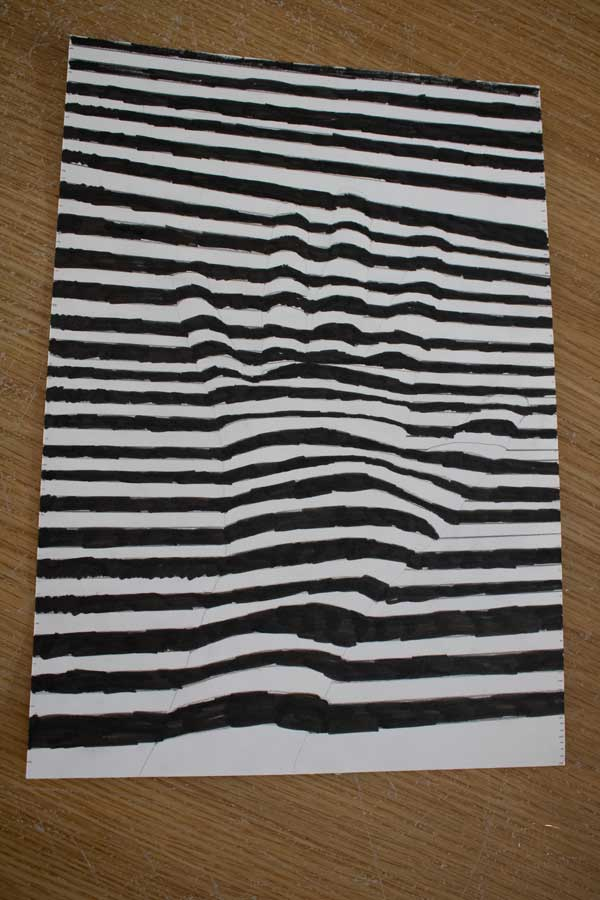 optical illusion art for kids taking inspiration from the black painting series by Frank Stella