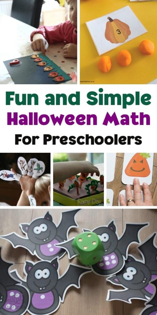 Pinterest image for Fun and Simple Halloween Math For Preschoolers collage of the different images featuring pumpkins, witches and bats