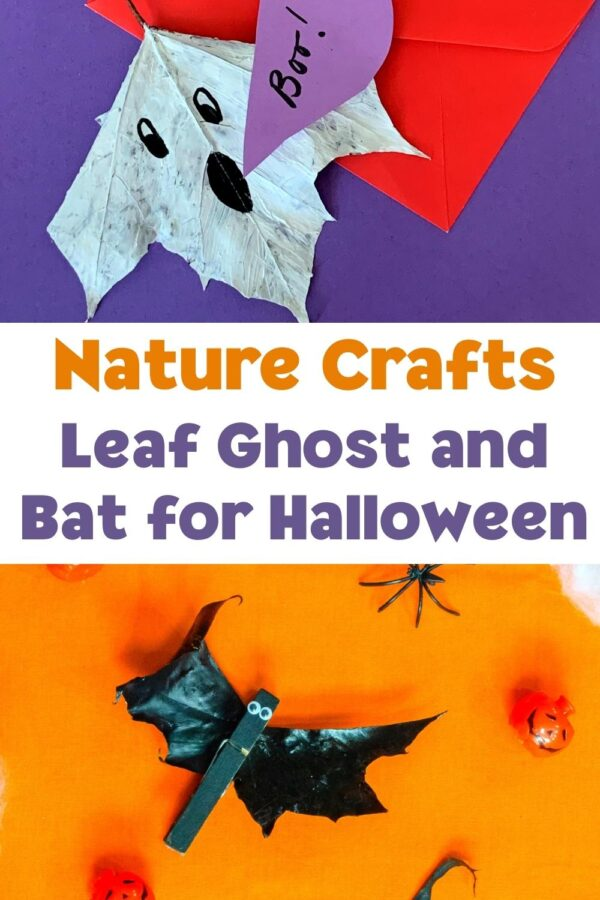 nature crafts for halloween leaf bats and ghosts pinterest collage image with text
