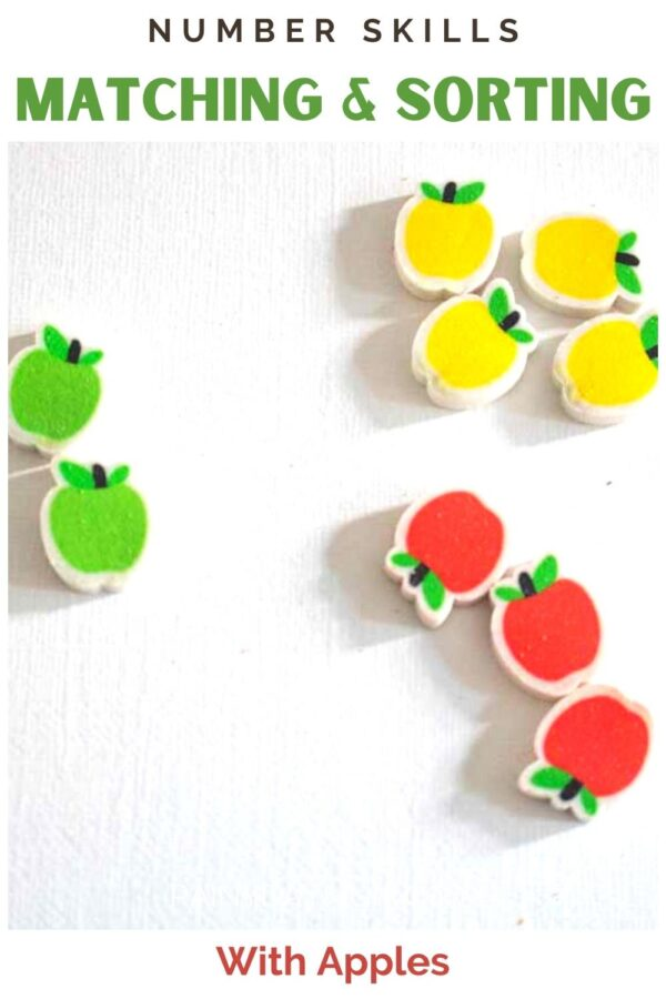 Pinnable image for matching and sorting with apples number skills activity for preschoolers and toddlers