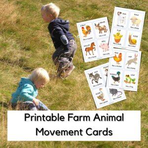 Printable Move like a Farm Animal Game Game for Preschoolers
