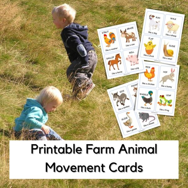 kids rolling and galoping in the park matching the activities on the printable farm animal movement cards