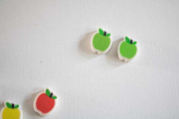 same and different with mini apple erasers. 2 green apples and the odd red and yellow moved away