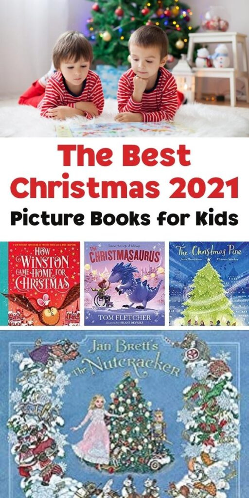 kids reading on the rug infront of the Christmas Tree with 4 of the best 2021 new Christmas picture books for kids