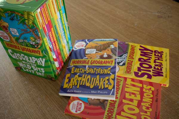 one of the many box sets available from Books2Door that can be used to read around school subjects with kids the horrible Geography set include earthquakes, volcanoes and storms amongst other books