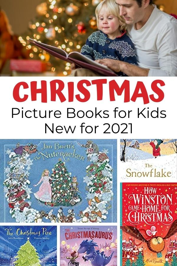 dad and preschooler reading a picture book infront of the christmas tree with covers of Picture Books for Kids new for Christmas 2021 including Jan Brett the Nutcracker and Tom Fletcher's Christmassaurs Picture Book Version